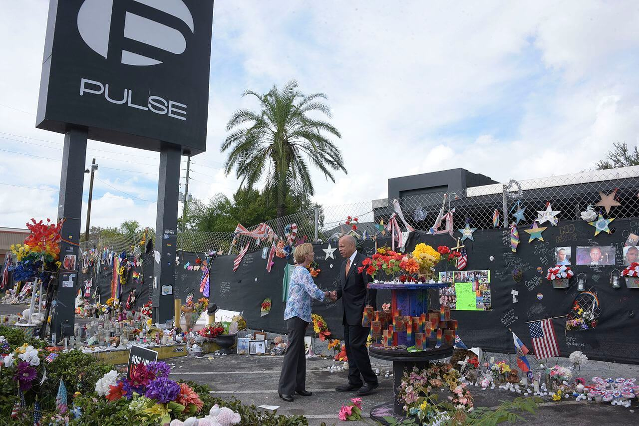 Secretary Johnson pays respects to victims of the Pulse Nightclub massacre in this September 2016 photograph.