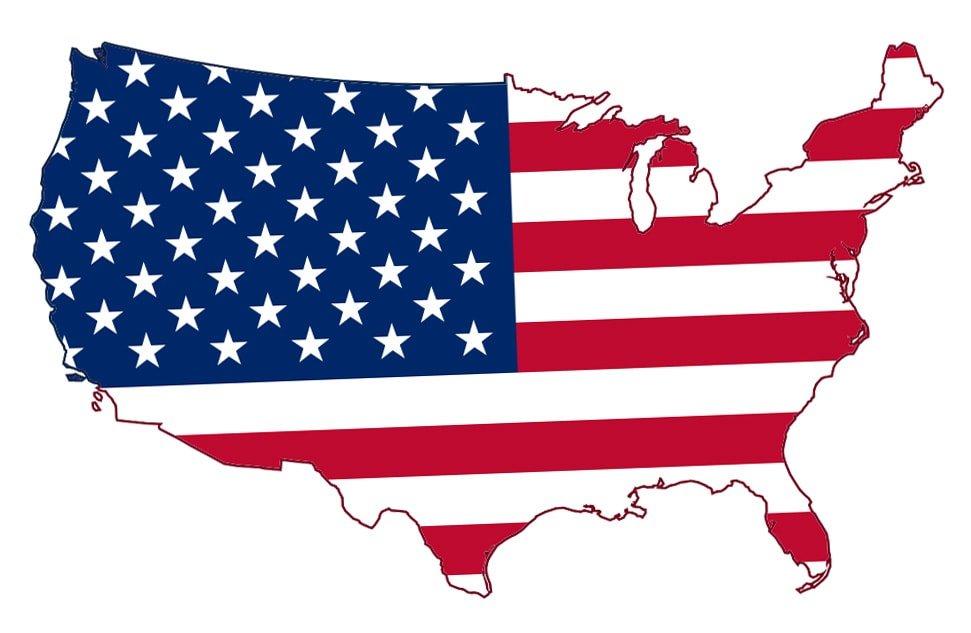 The 48 contiguous United States with an American flag pattern.