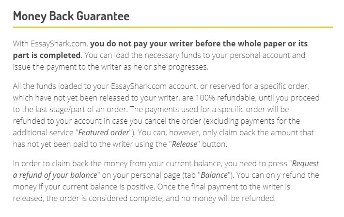 Description of an unfair money back guarantee.