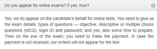 The site myassignmenthelp.com offers to take exams for students in exchange for login credentials.