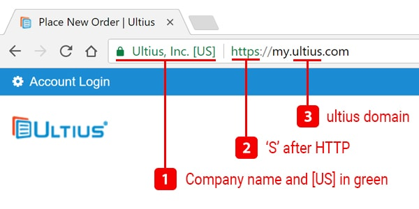 Browser bar highlighting the strong security features on the Ultius website.