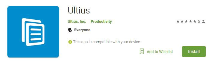 The Ultius Android app.