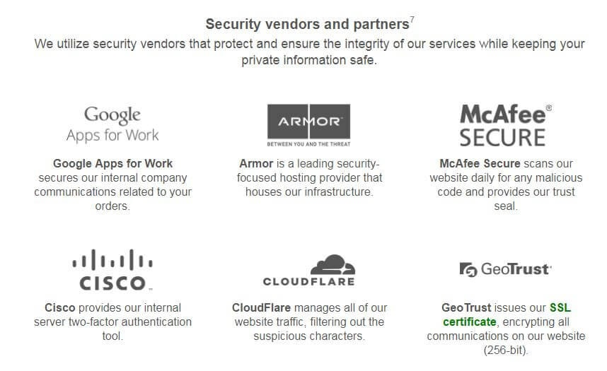 Logos of the security vendors and partners used at Ultius.