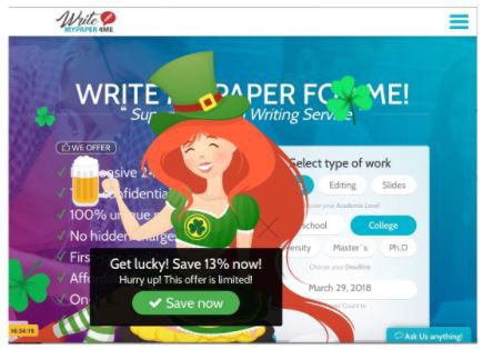 Red-haired cartoon maiden in a St. Patrick's Day themed costume holding a beer.