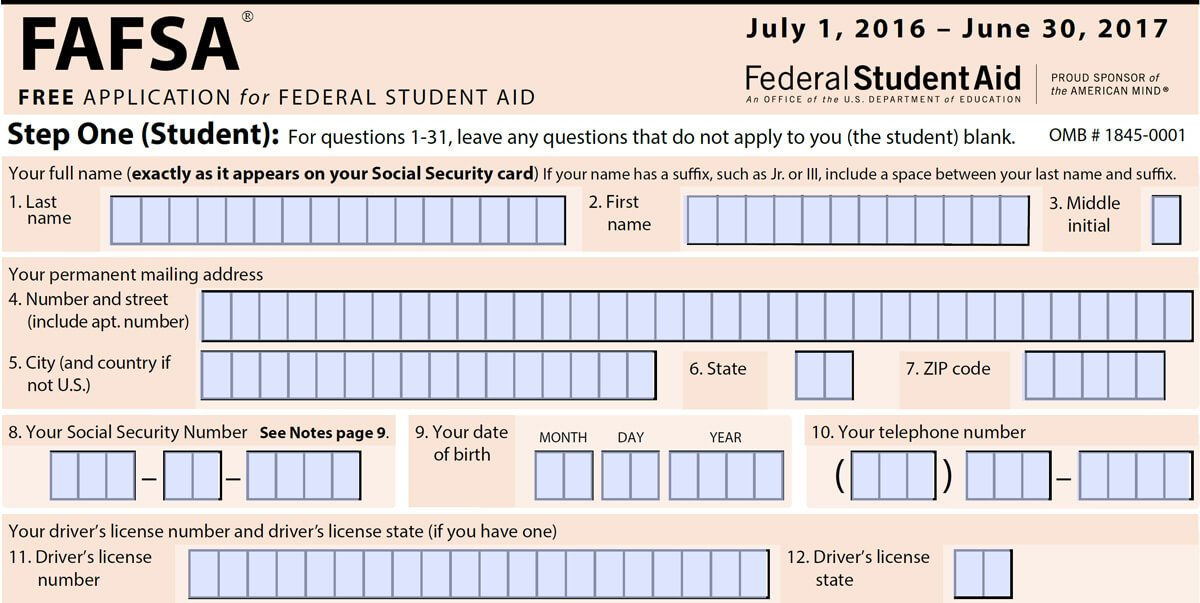 2016 FAFSA Application Form - Top of page two