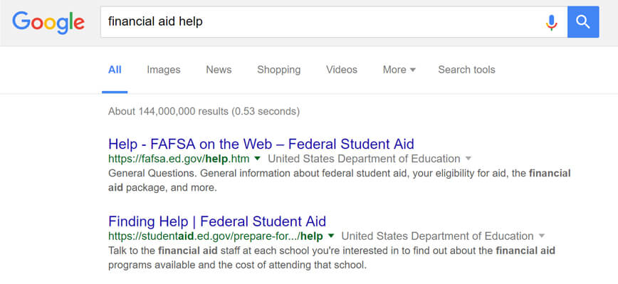 Google search results for 'financial aid help' on October 8, 2016