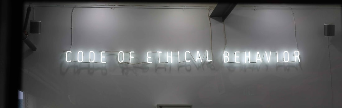Code of ethical behavior sign