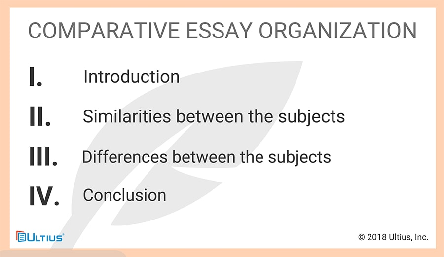 One version of the comparative essay compares the similarities and differences between subjects