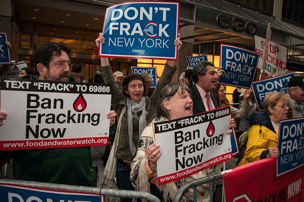 Anti-fracking demonstration in Manhattan, New York