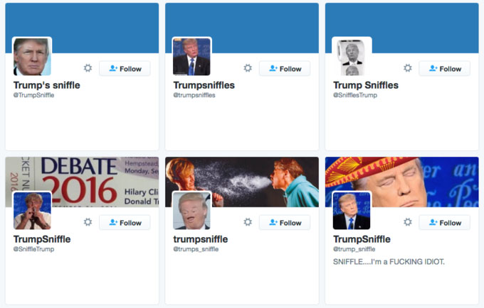 A collage of Twitter accounts ostensibly owned by Donald Trump's recurring sniffles.