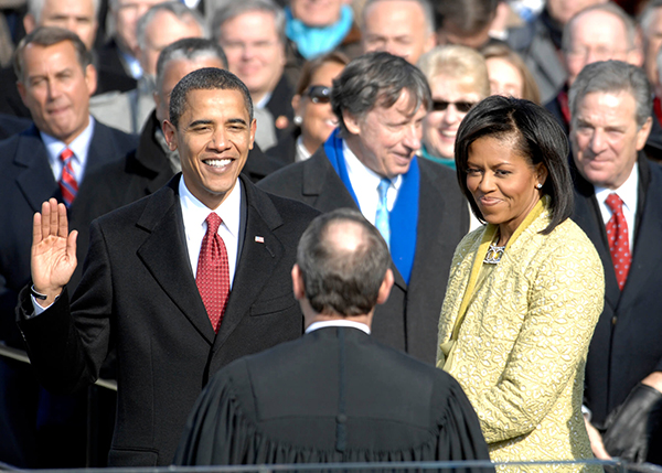 Forty-fourth president Barack Obama is sworn into office in January 2008.
