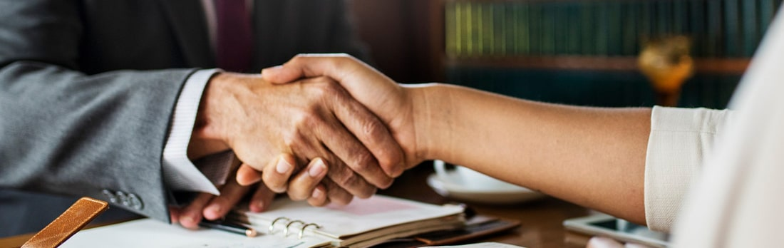 Man and woman shaking hands at a job interview