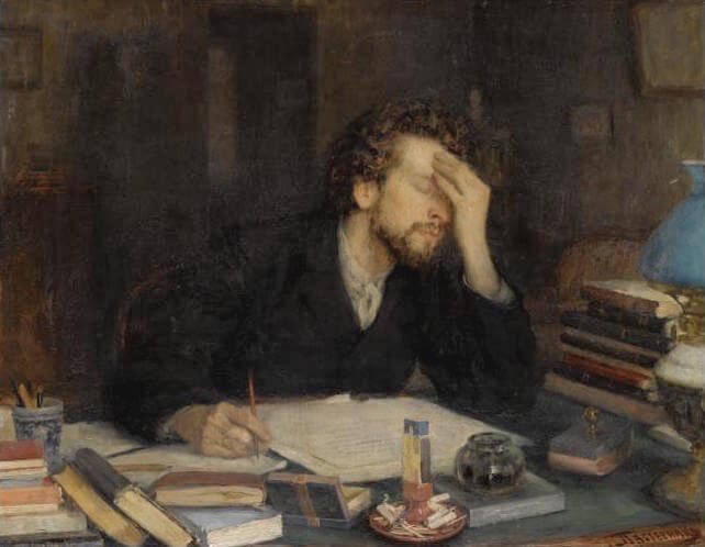 A man experiences writer's block in The Passion of Creation by Leonid Pasternak