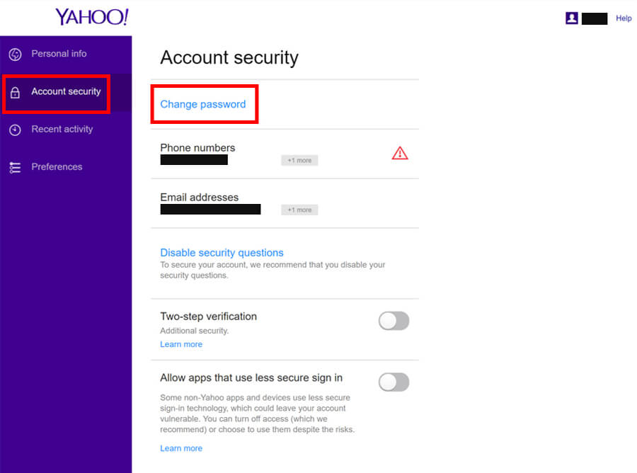 Yahoo Account Page - Change your password