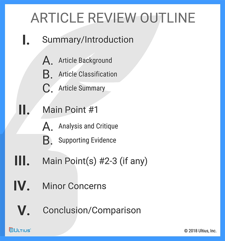Ultius Article Review Outline