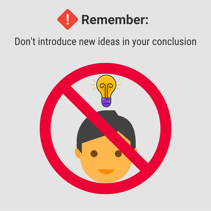 Don't introduce new ideas in the conclusion | Ultius