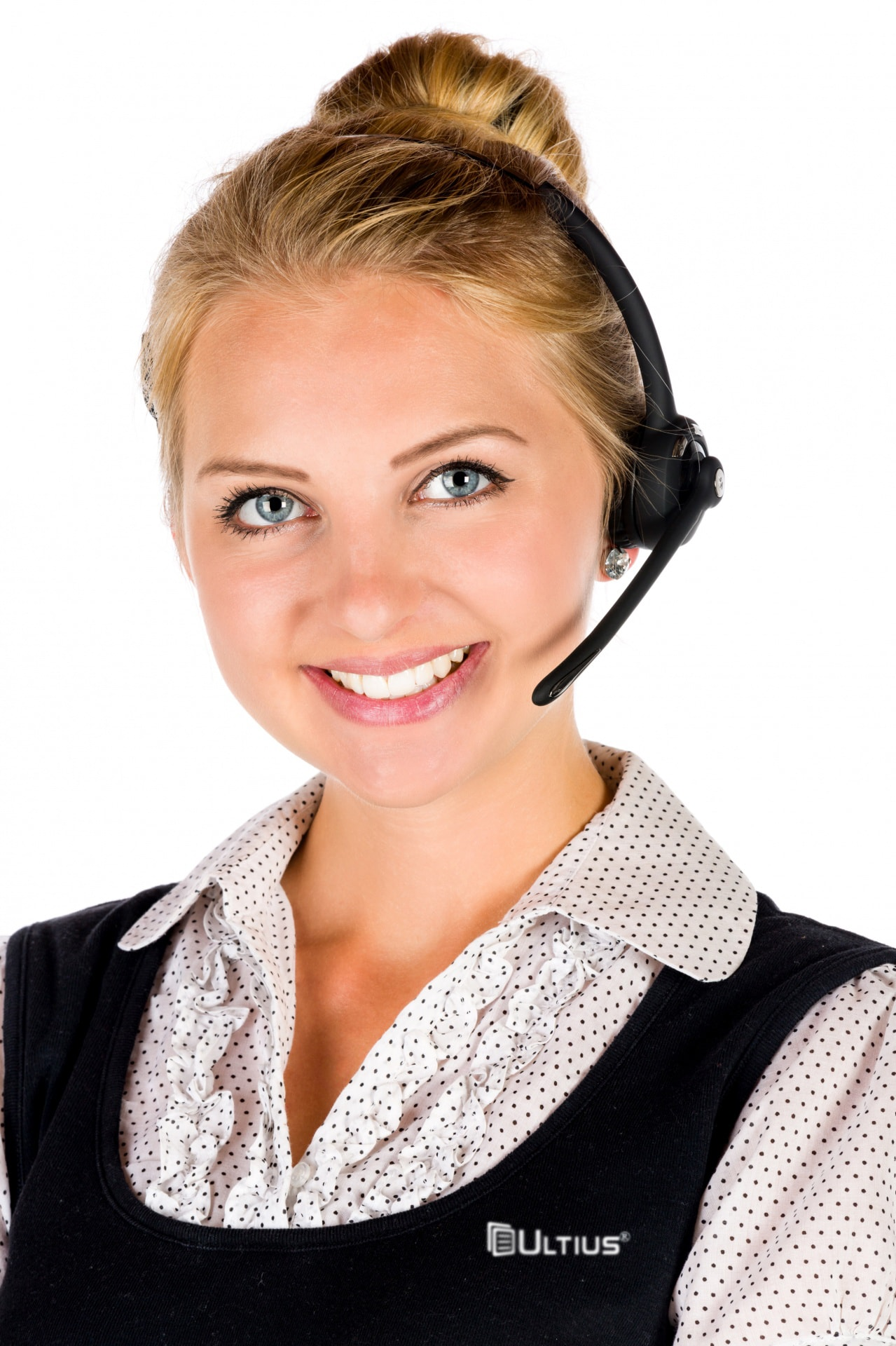 Ultius customer support representative with a headset.