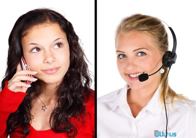 Woman on the phone with an Ultius client success representative.