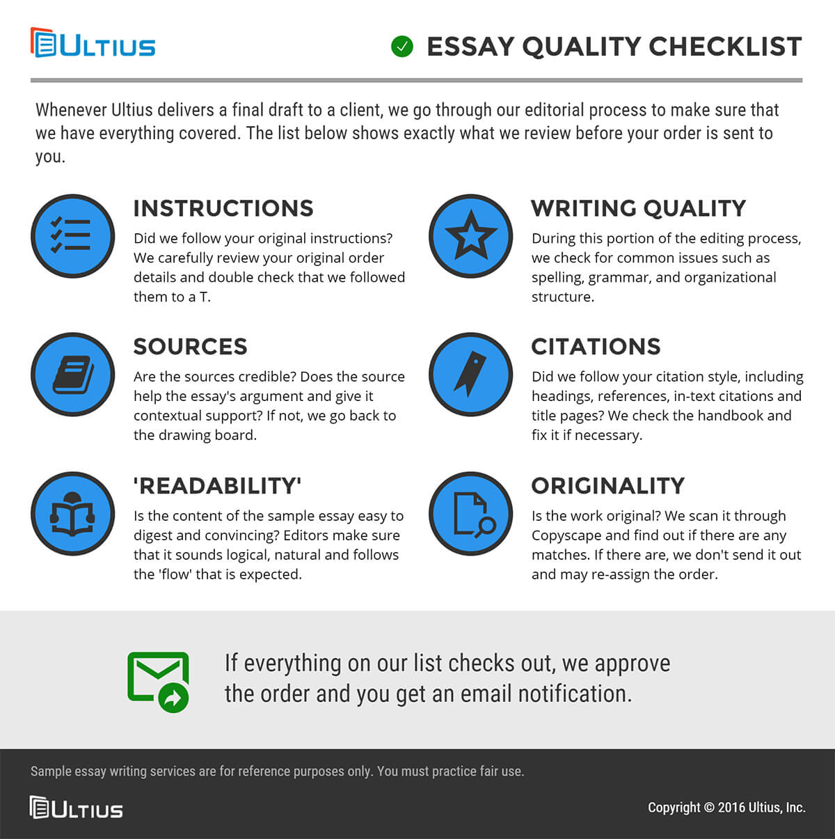 Essay Thesis Essay Writing Services  Quality Checklist Infographic Essay Papers For Sale also English Essay Sample Essay Writing Service  Custom Writing Service  Ultius Sample Of Synthesis Essay