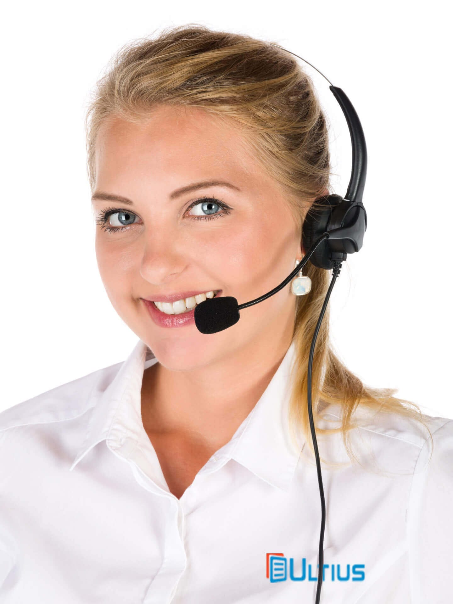 Ultius customer support representative with a headset