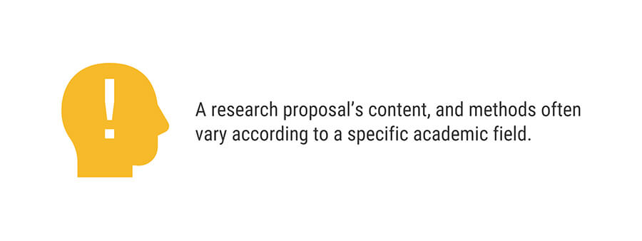 A research proposal's content, and methods often vary according to a specific academic field. | Ultius