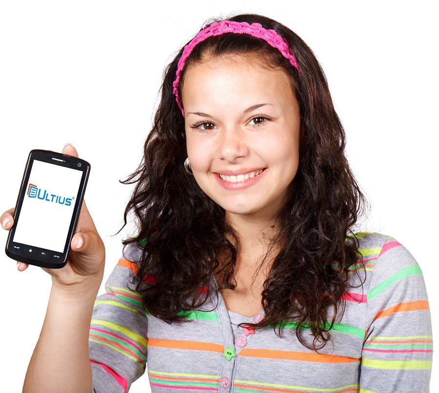 Girl holding phone displaying Ultius.